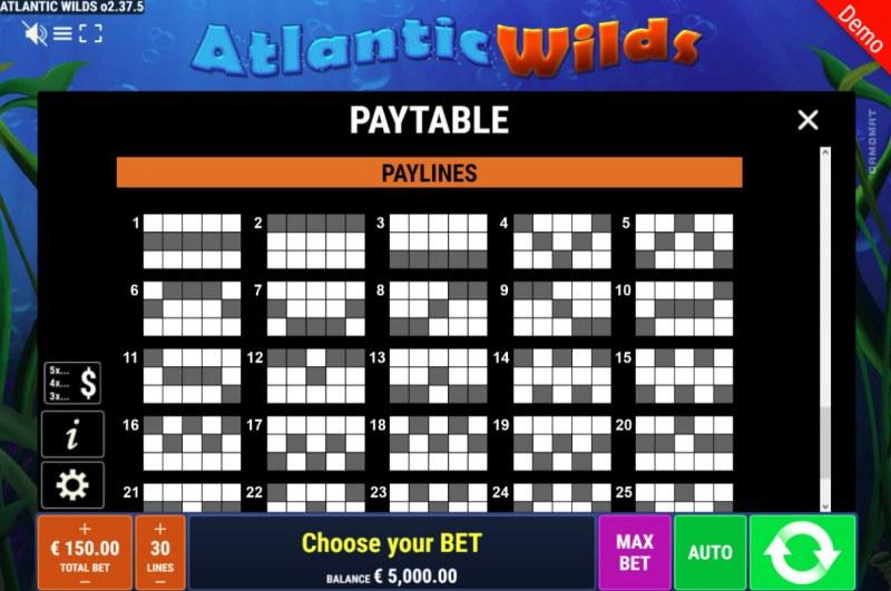 Atlantic Wilds :: Paylines 1-25