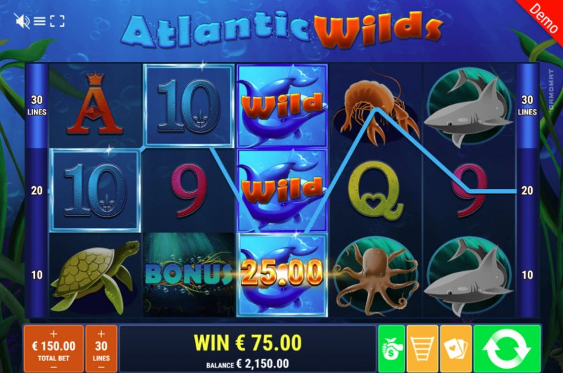 Atlantic Wilds :: Stacked wild symbols triggers a three of a kind