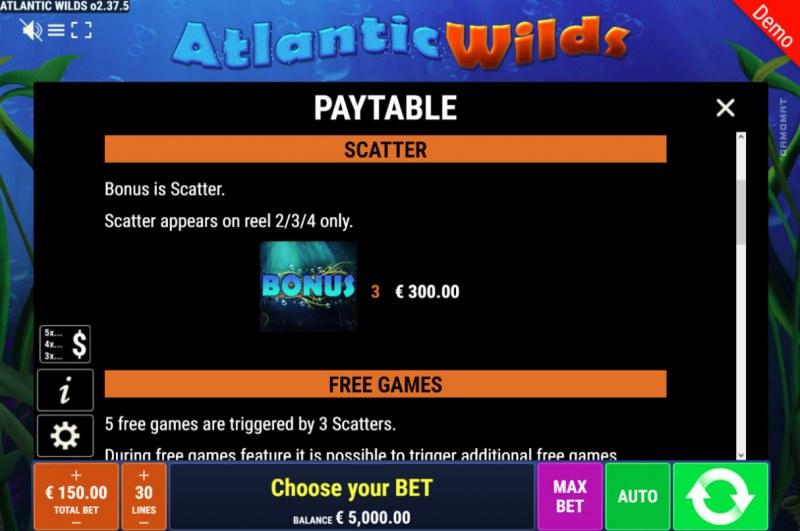 Atlantic Wilds :: Scatter Symbol Rules