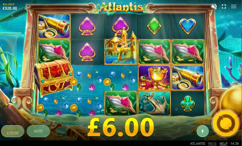 Atlantis :: Winning symbols are removed from the reels and new symbols drop in place