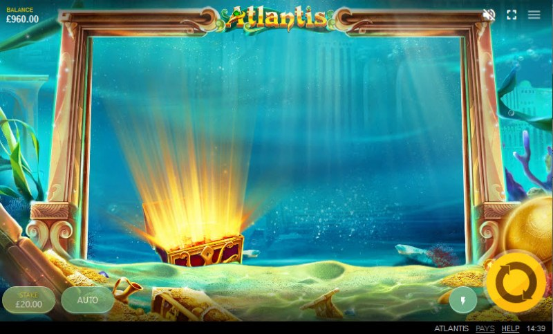 Atlantis :: Feature triggered when treasure chest reaches bottom of the reels