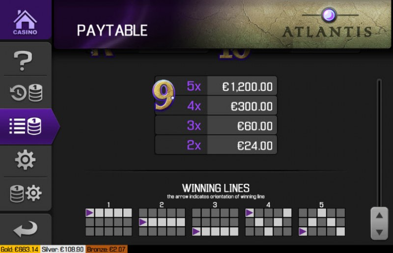 Atlantis :: Paylines 1-5