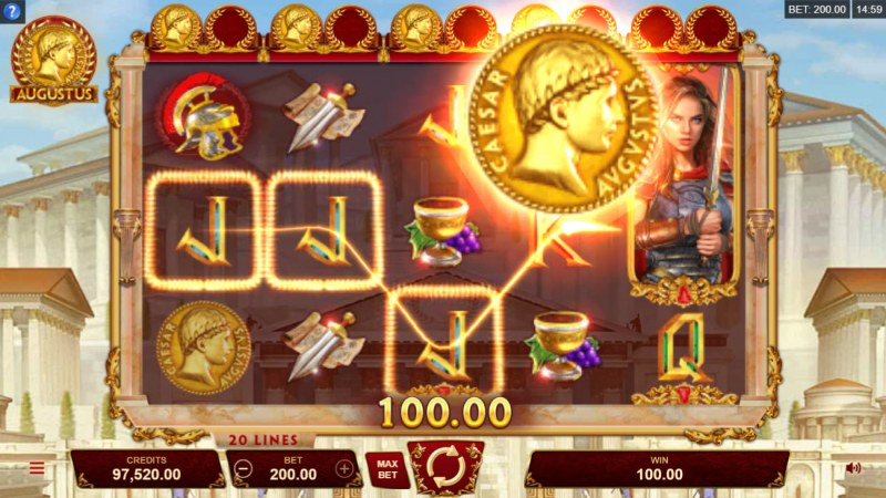Augustus :: Collect 2 gold coins per reel to activate Wild Reel feature