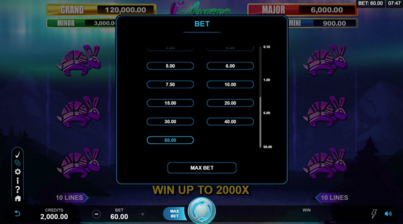 Play slots at Casumo: Casumo featuring the Video Slots Aurora Wilds with a maximum payout of $120,000
