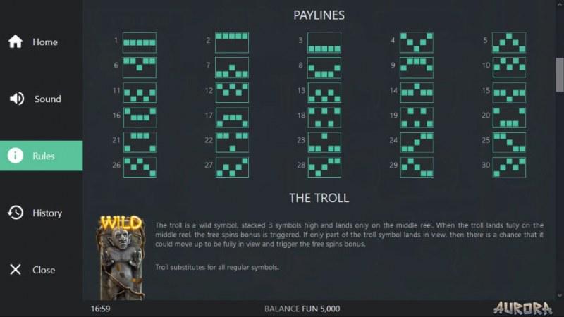 Aurora :: Paylines 1-30