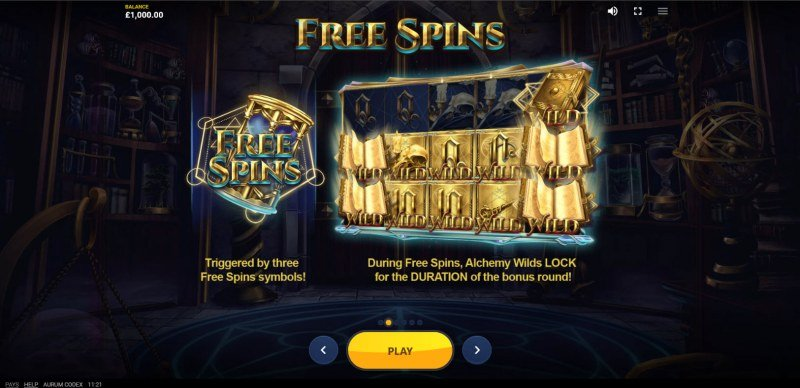 Aurum Codex :: Free Spin Feature Rules