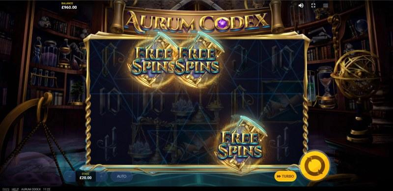 Aurum Codex :: Scatter symbols triggers the free spins bonus feature