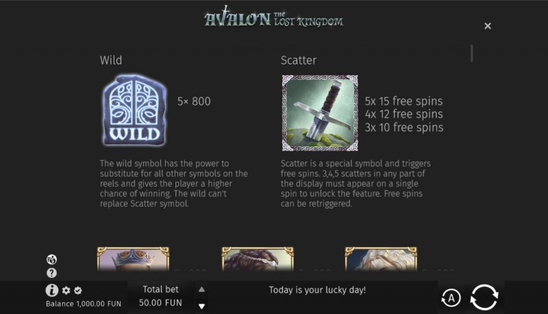 Avalon The Lost Kingdom :: Wild and Scatter Rules