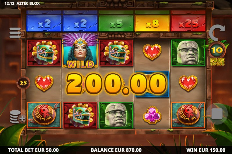 Aztec BLOX :: A three of a kind win