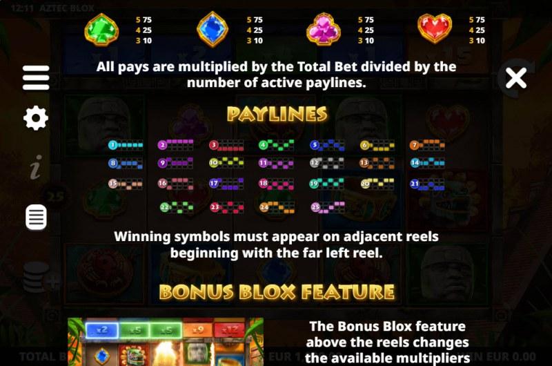 Aztec BLOX :: Paylines 1-25