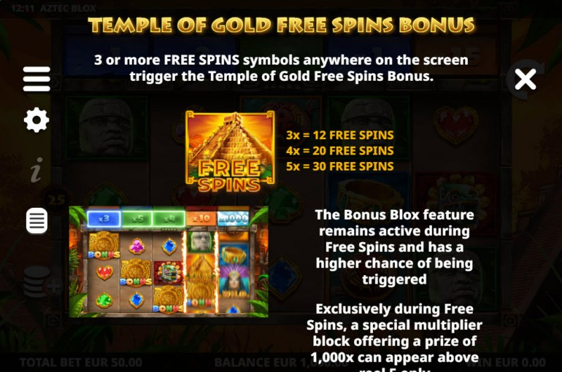 Aztec BLOX :: Free Spin Feature Rules