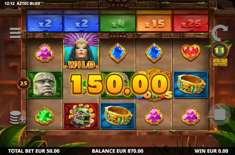 Aztec BLOX :: Free Spins Game Board