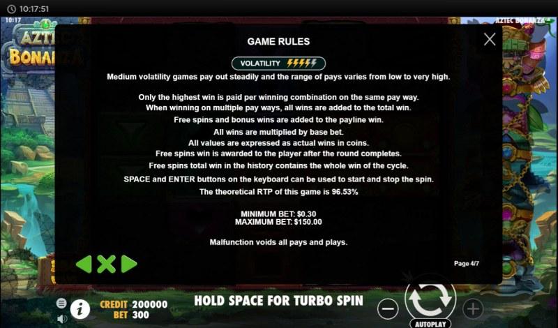 Aztec Bonanza :: General Game Rules