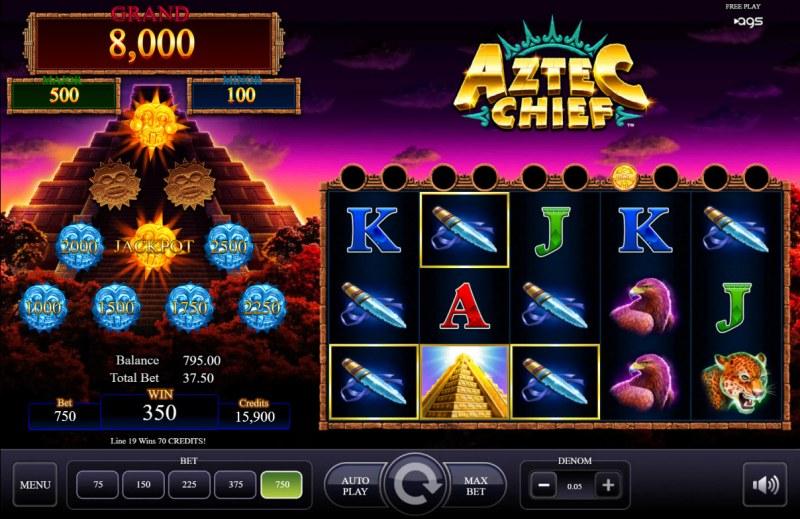 Aztec Chief :: Multiple winning paylines