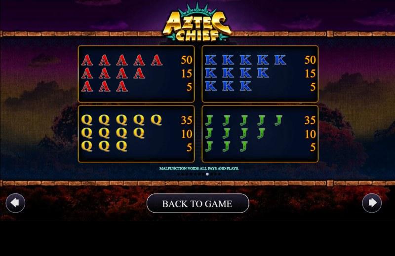 Aztec Chief :: Paytable - Low Value Symbols