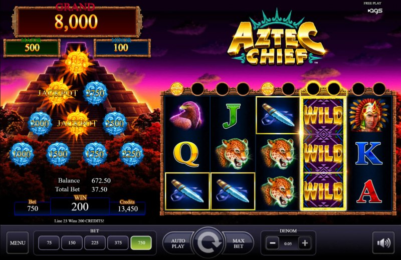 Aztec Chief :: A four of a kind win