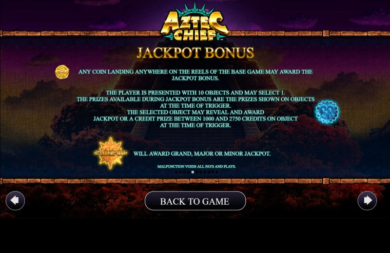 Aztec Chief :: Jackpot Rules