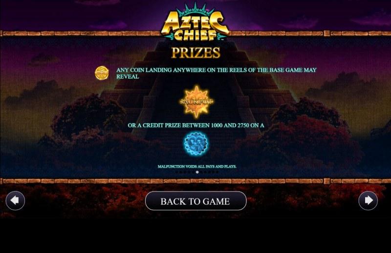 Aztec Chief :: Prizes
