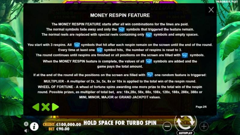 Aztec Gems Deluxe :: Money Respin Feature
