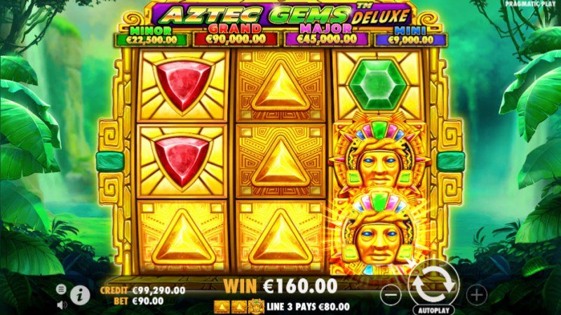 Aztec Gems Deluxe :: Three of a kind win