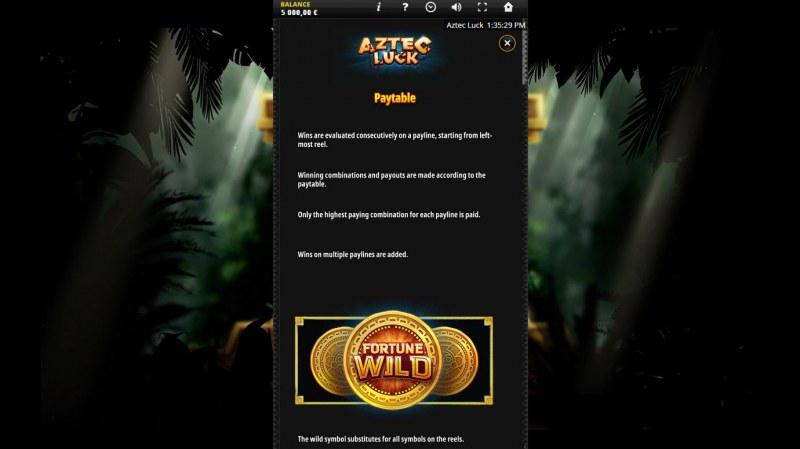 Aztec Luck :: Wild Symbol Rules