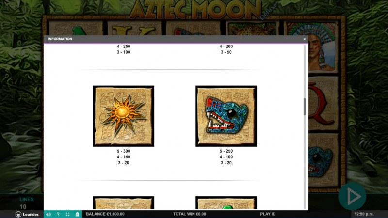 Aztec Moon Deluxe :: Paytable - Medium Value Symbols