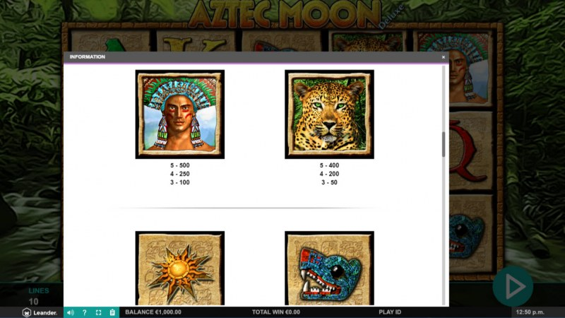 Aztec Moon Deluxe :: Paytable - High Value Symbols