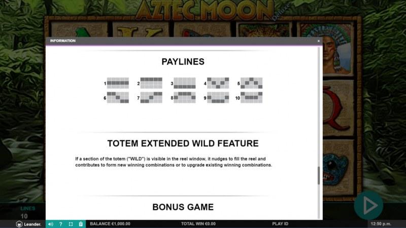 Aztec Moon Deluxe :: Paylines 1-10
