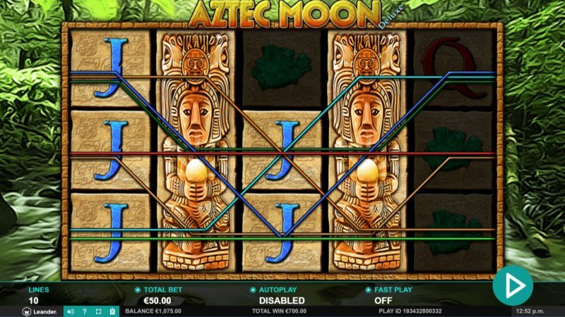 Aztec Moon Deluxe :: Stacked wild symbols trigger multiple winning paylines