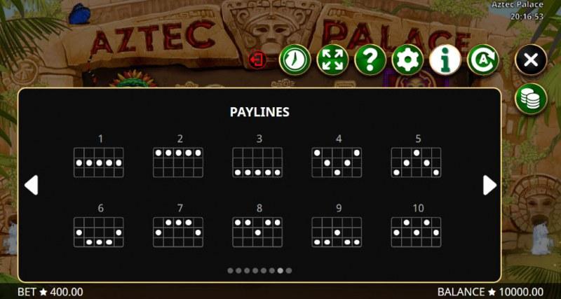 Aztec Palace :: Paylines 1-10