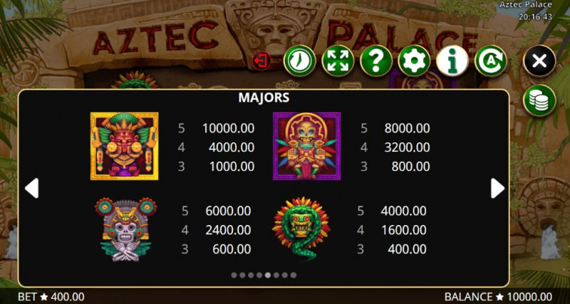 Aztec Palace :: Paytable - High Value Symbols