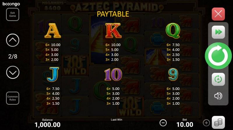 Aztec Pyramid Megaways :: Paytable - Low Value Symbols