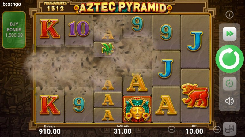 Aztec Pyramid Megaways :: Winning symbols are removed from the reels and new symbols drop in place