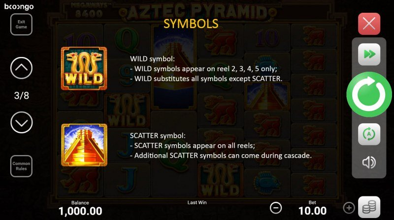 Aztec Pyramid Megaways :: Wild and Scatter Rules