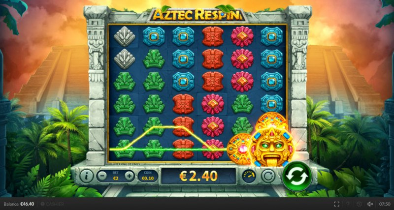 Aztec Respin :: Wild symbol expands triggering a win and a respin