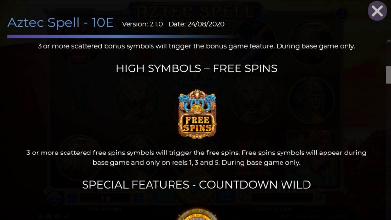 Aztec Spell 10 Lines :: Scatter Symbol Rules