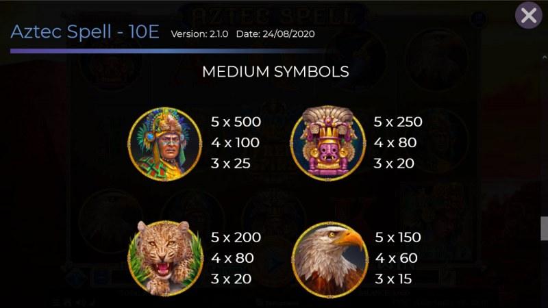 Aztec Spell 10 Lines :: Paytable - Medium Value Symbols