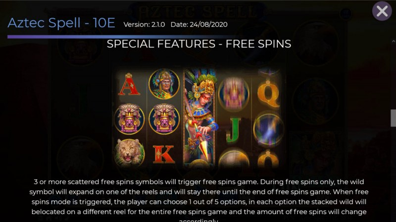 Aztec Spell 10 Lines :: Free Spin Feature Rules