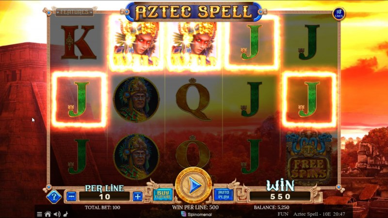 Aztec Spell 10 Lines :: A five of a kind win