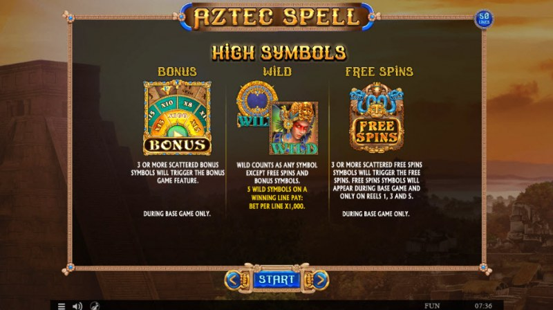 Aztec Spell :: Wild and Scatter Rules