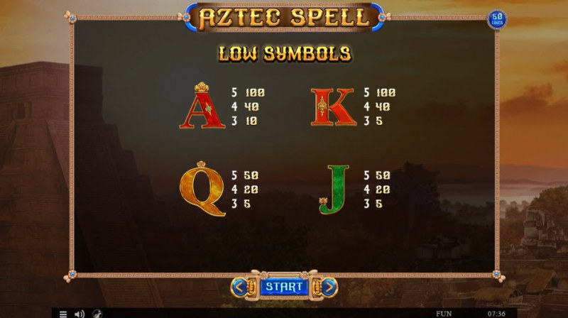 Aztec Spell :: Paytable - Low Value Symbols