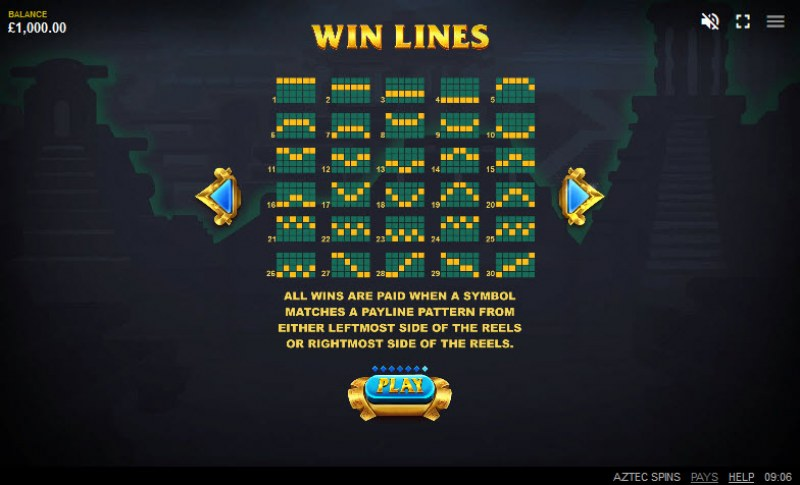 Aztec Spins :: Paylines 1-30