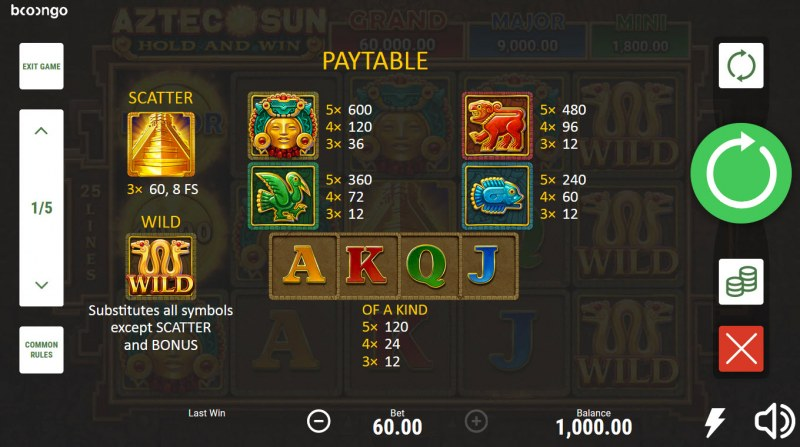 Aztec Sun Hold and Win :: Paytable