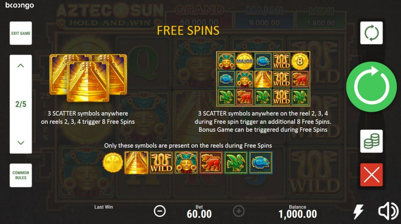 Aztec Sun Hold and Win :: Free Spin Feature Rules