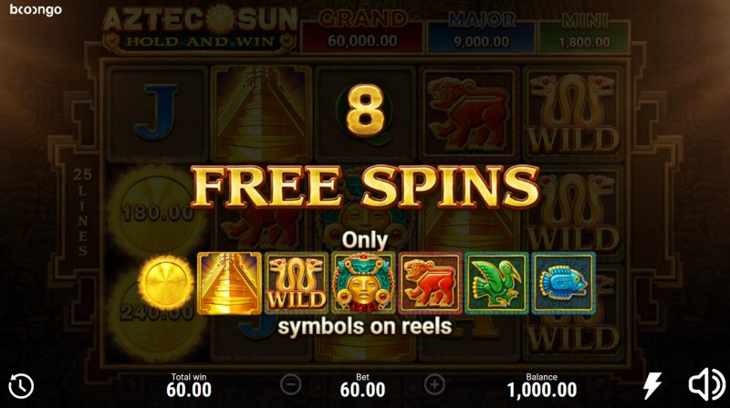 Aztec Sun Hold and Win :: 8 free spins awarded