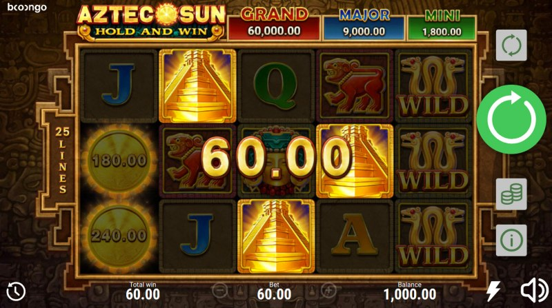 Aztec Sun Hold and Win :: Scatter symbols triggers the free spins bonus feature