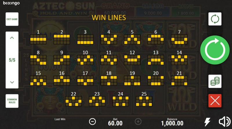 Aztec Sun Hold and Win :: Paylines 1-25