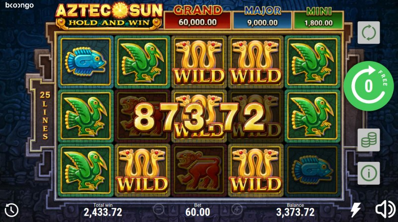 Aztec Sun Hold and Win :: Multiple winning combinations lead to a big win