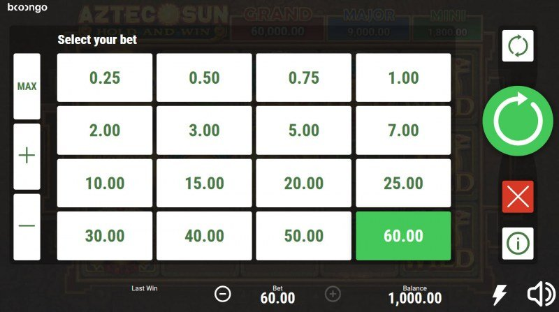Aztec Sun Hold and Win :: Select your bet