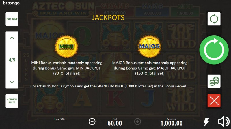 Aztec Sun Hold and Win :: Jackpot Rules